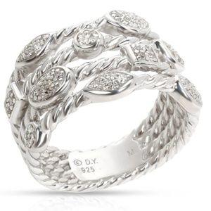 David Yurman SS 4-Row Pave Diamond Confetti Ring 6